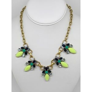 J. Crew Factory Yellow Blue Crystal Necklace NWT